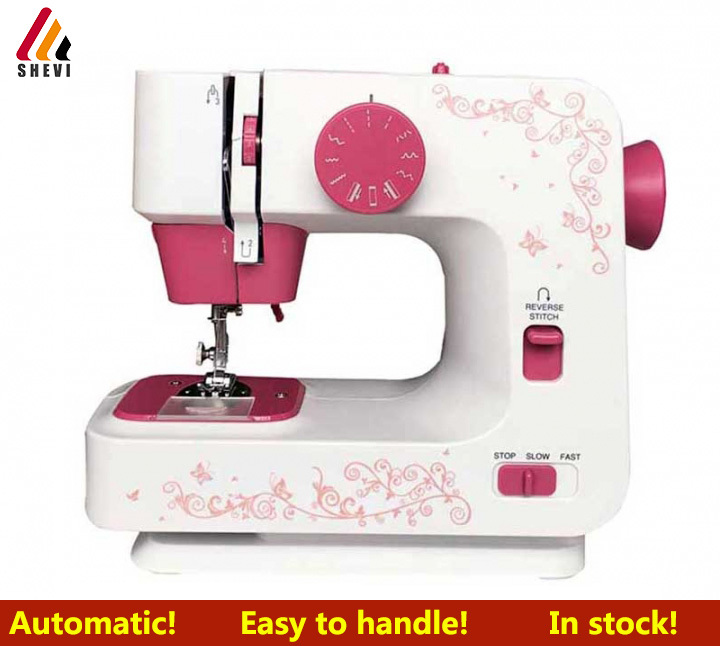 Shevi Automatic Double Thread Mini Sewing Machine Portable Double Speed Home Tool with Lighting Lamp RED