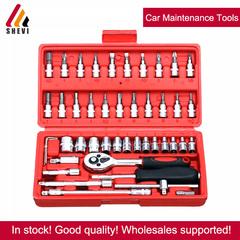 46pc Assorted Socket Set Ratchet Tool Torque Wrench Set Car Maintenance Tools