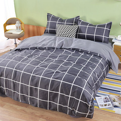 Shevi1 Duvet cover+1 Bed sheet+2 Pillow covers) Aloe Cotton for 1.8m/2m bed Grey grid 1.8m bed
