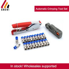 Shevi Professional Automatic Pliers Crimping Tool Set Wire Stripping Stripper + Clamp + Blue F plug as picture one size