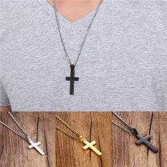 Fashion Simple Cross Pendant Necklace Cross Necklace Jewelry for Men Christmas gift silver onesize