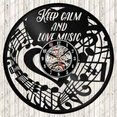 "Love Music Vinyl Record Wall Clock 12"" (30 cm) Wall Art Music Studio Cafe Bar Room Home Decor"