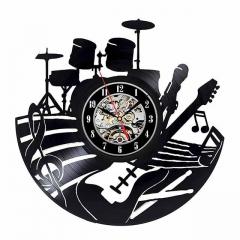 "Drum Kit Guitar Music Studio Vinyl Record Wall Clock 12"" (30 cm) Wall Art Cafe Bar Room Home Decor"