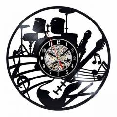 "Musical Instruments Guitar Vinyl Record Wall Clock 12"" (30 cm) Drum Kit Wall Art Music Studio Decor"