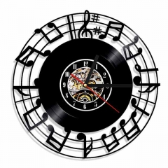 "Music Studio Musica Note Vinyl Record Wall Clock 12"" (30 cm) Music Wall Art Bar Cafe Room Home Decor"