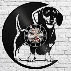 "Dachshund Puppy Vinyl Record Wall Clock 12"" (30 Cm) Wall Art Bar Cafe Home Decor Dogs Vinyl Clock"