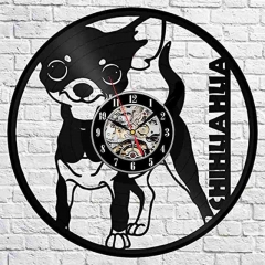 "Chihuahua Puppy Vinyl Record Wall Clock 12"" (30 Cm) Dogs Wall Art Cafe Home Decor Dogs Vinyl Clock"