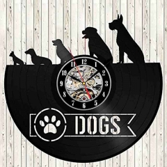 "DOGS Puppy Vinyl Record Wall Clock 12"" (30 cm) Wall Art Cafe Bar Home Decor Pet Dogs Vinyl Clock"