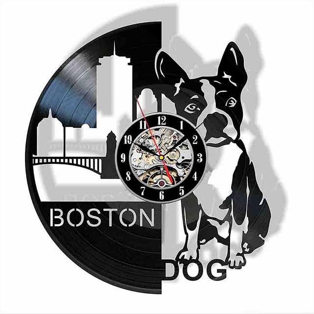 boston terrier puppy vinyl record wall clock 12 (30 cm) wall art