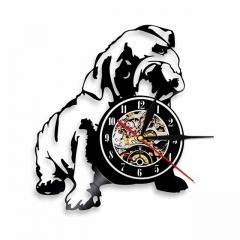 "Bulldog Puppy Vinyl Record Wall Clock 12"" (30 cm) Wall Art Cafe Bar Home Decor Pet Dogs Vinyl Clock"
