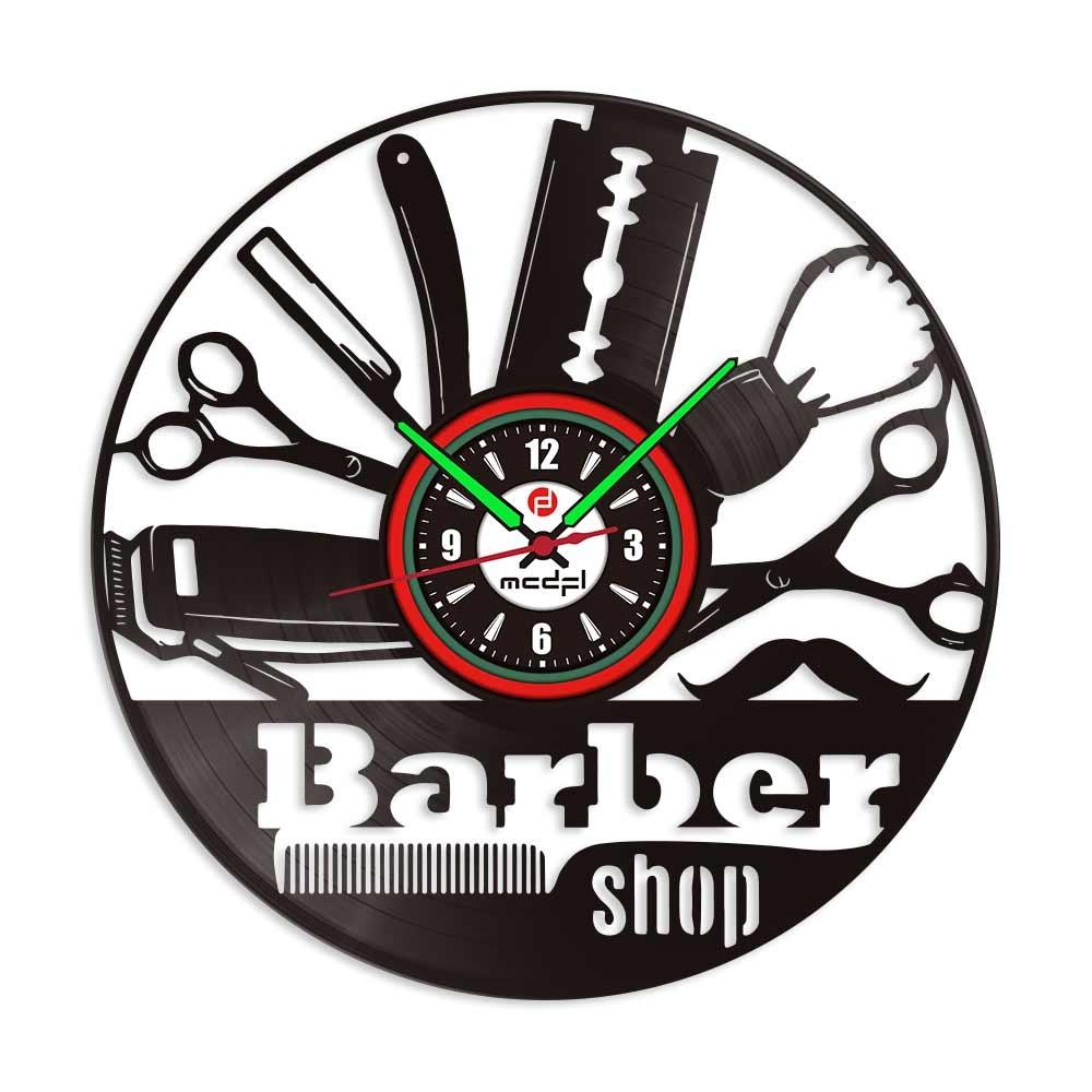 Mcdfl 12 Inch Barber Shop Vinyl Clock Hair Salon Vinyl Wall Clock