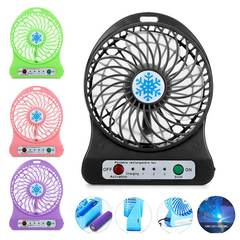 MCDFL Portable Rechargeable LED Light Summer Mini Fan 3 Mode Speed USB Fan Air Cooler Table Desk Fan Black
