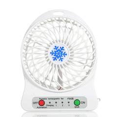 MCDFL Portable Rechargeable LED Light Summer Mini Fan 3 Mode Speed USB Fan Air Cooler Table Desk Fan White