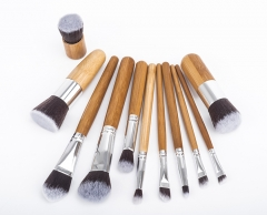 11pcs High Quality Makeup Brushes Set  with brush cleaner natural color