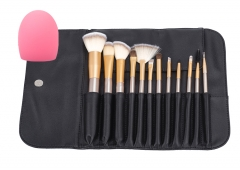 12Pcs  Makeup Brush Set with brush  cleaner , Professional  Make Up Brushes Kit Leather Bag golden
