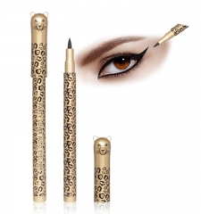 Waterproof Precision Liquid Felt Tip  Eyeliner Pen in leopard pattern, Black black