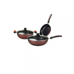 TAG KITCHEN-3 Pcs Heat Resistant Non-Stick Cookware Set Brown normal