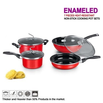 TAG KITCHEN-4 Pcs Heat-Resistant Non-Stick Cooking Pot Set red normal