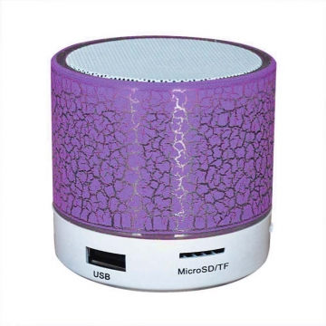 Cool Fashion Crack Mini Bluetooth Speaker With LED Light Small Body Loud Voice One Size purple as picture