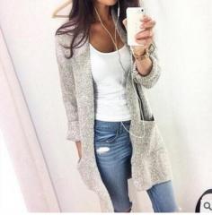 Winter Womens Knitted Outwear Coat Lady Girl Long Sleeve Sweater Cardigan Warm Women Oversized Tops grey s