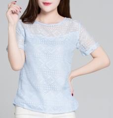 2017 Women Clothing Chiffon Blouse Lace Crochet Female Korean Shirts Ladies Blusas Tops Shirt light blue xxl