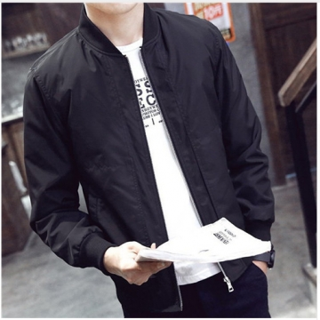 2017 Spring Autumn Casual Solid Fashion Slim Bomber Jacket Men Overcoat New Arrival Baseball Jackets black l