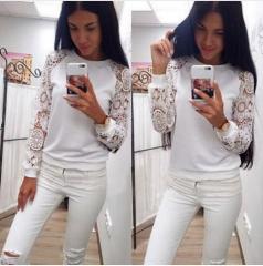 Women Blouses Shirt Tops 2017 Spring Summer Women Long Sleeve Lace Blouse Warm Cotton Shirt White white s