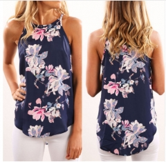 Womens Tops and Blouses For Summer Hot New Fashion 2017 Ladies Multicolor Floral Mock Neck Sleeve blue s