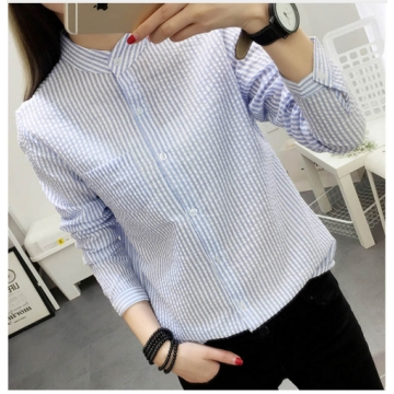 Blouses White Shirt Women Blouse 2017 New Autumn Stripe Long Sleeve Shirts Ladies Tops Female blue m