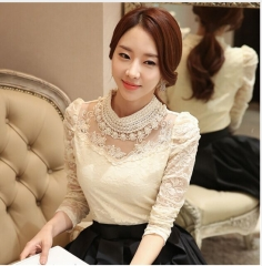 elegant long sleeve bodysuit beaded Women lace blouse shirts crochet tops blusas Mesh Chiffon blouse beige xxl