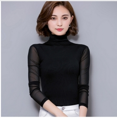 long sleeve shirt women tops chemise femme women blouses 2017 sexy lace blouse blusas y camisas black xxl