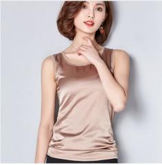 Summer women blouses 2017 new casual chiffon silk blouse slim sleeveless O-neck blusa tops shirts khaki xxl