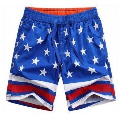 Male Fashion Patchwork Stripe Star Casual Shorts Men Short Pants Cotton Shorts Summer Beach shorts blue l