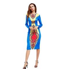 Autumn African Women's Dress Long Sleeve Round Neckline Blue XL