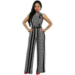 African Women's Jumpsuits Without Sleeves Black S