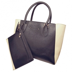 Toofn Handbag 4 Colors Fashion Women Casual Tote Bag PU Leather Handbags Black