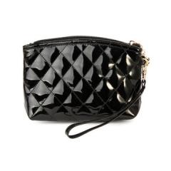 Toofn Handbag Patent Leather Cosmetic Purse Plaid Bag Black F