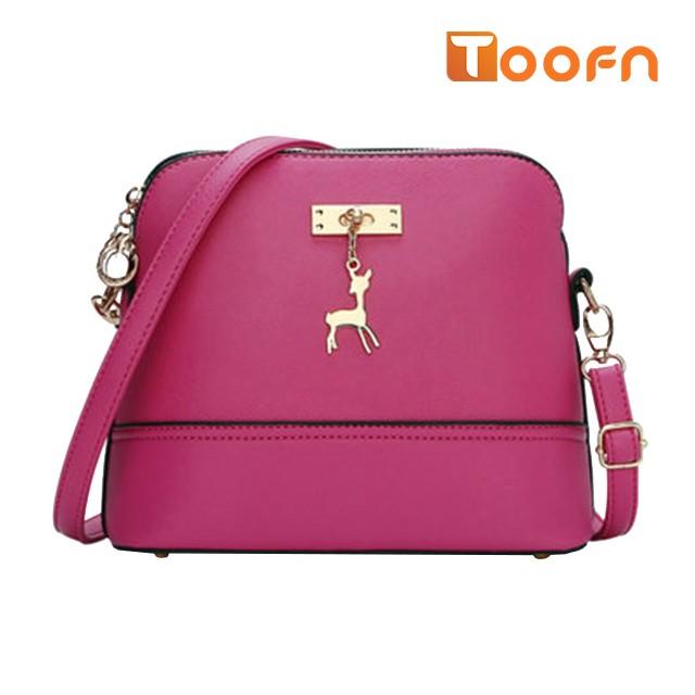 Toofn Handbag New pattern lovely deer shell bag Rose red F