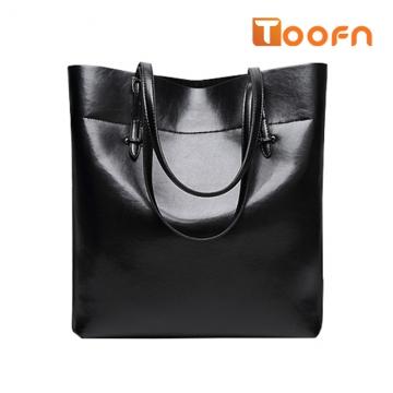 Toofn Handbag Bigsize Fashion Tote Bags,Shopping Bag Black F
