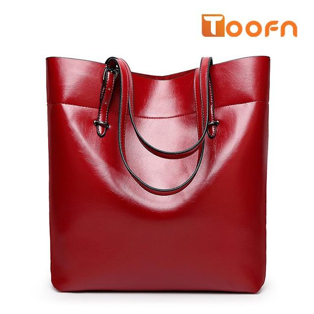 Toofn Handbag Bigsize Fashion Tote Bags,Shopping Bag Red F