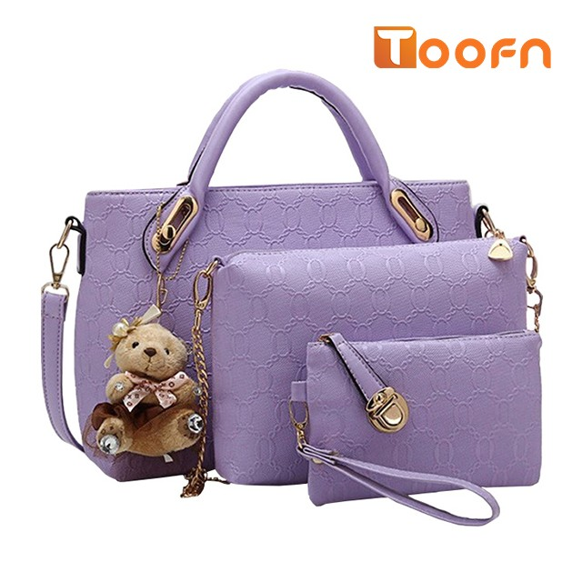 Toofn Handbag 5 colors Classic Fashion Women Luxury Handbag PU Leather Genuine Bags Purple F
