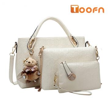 Toofn Handbag 5 colors Classic Fashion Women Luxury Handbag PU Leather Genuine Bags White F