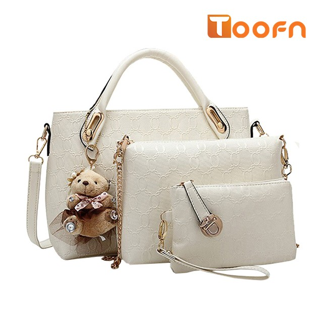 Toofn Handbag 5 colors Classic Fashion Women Luxury Handbag PU Leather Genuine Bags White F