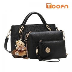 Toofn Handbag 5 colors Classic Fashion Women Luxury Handbag PU Leather Genuine Bags Black F