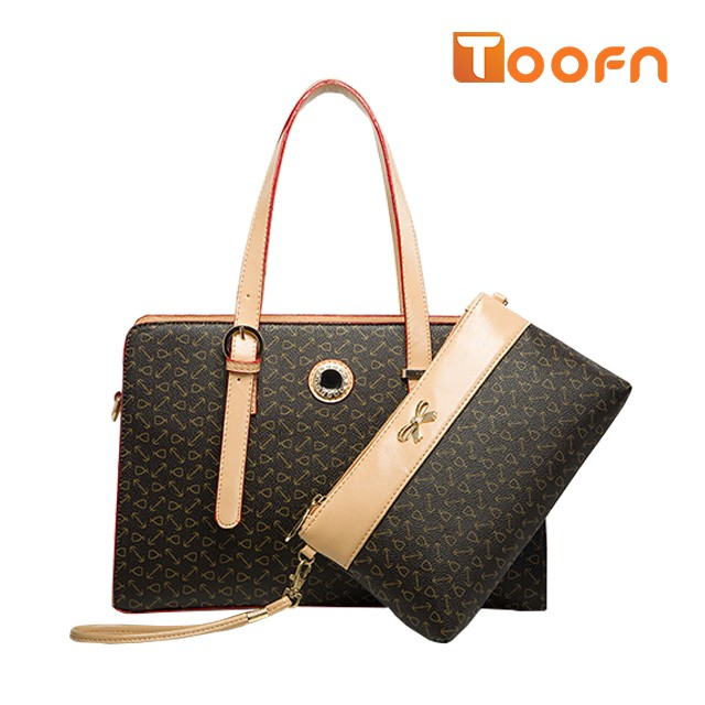 Toofn Handbag The New Composite Package Fashion Printing Handbag Coffee F