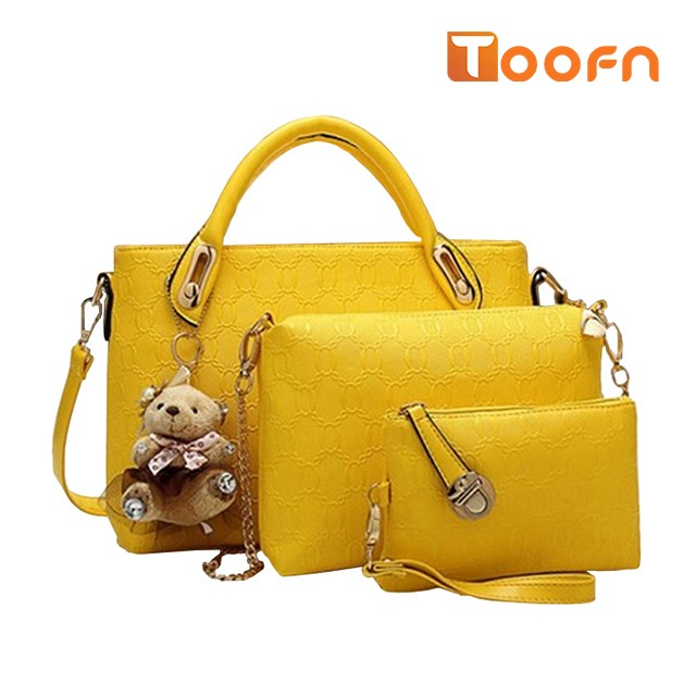 Toofn Handbag 5 colors Classic Fashion Women Luxury Handbag PU Leather Genuine Bags Yellow F