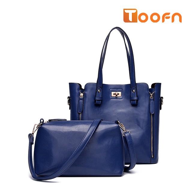 Women 2 Piece Lash Packages Big Shoulder bag Casual Handbag Blue