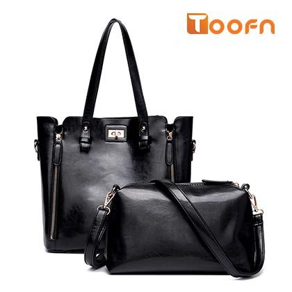 Toofn Handbag Women 2 Piece Lash Packages Big Shoulder bag Casual Handbag Black