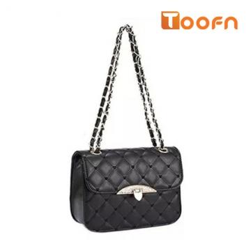 Toofn Handbag 2 Colors Plaid Chain Belt Fashion Shoulder Bags Black