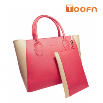 Toofn Handbag 4 Colors Fashion Women Casual Tote Bag PU Leather Handbags Pink